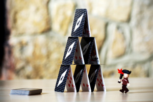 A house of cards being attacked by a pirate. Seems perfect, somehow. (Picture by furlined)