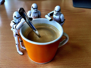Every writer needs minions to make them coffee. Preferably to this scale. (Picture by renatomitra)