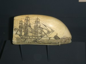 Wouldn't it be cool to sail off in one of these, for lands unknown?  (Picture: scrimshaw drawing on a sperm whale tooth, courtesy of Wikipedia.)